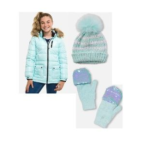 Justice Puffer Jacket with Pompom Beanie & Gloves